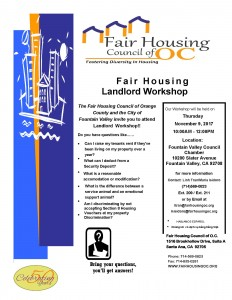 City of Fountain Valley Landlord Workshop Flyer-November 9-2017