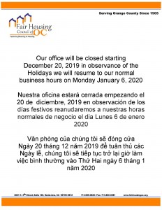 Holiday Closure2019